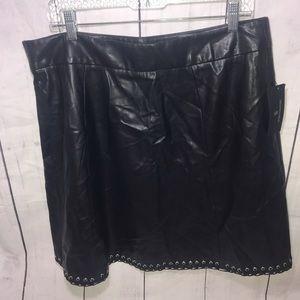 Worthington Faux Leather Flared Grommet Skirt-14